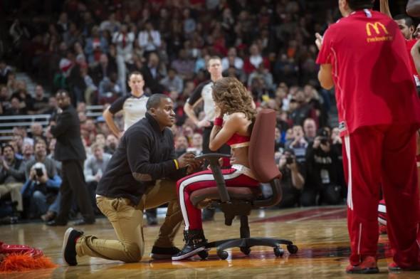 Wedding proposal sport event
